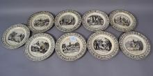 Set of nine antique French P & H Choisy cream ware Military plates (9) circa 1820's