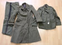 Antique European uniforms, to include jacket label for Fallourd Lucon, matching pair of black stripped pants, and trench coat (3)