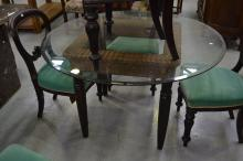 Glass topped dining table, approx 76cm H x 122cm dia
