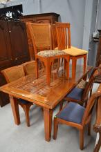Glass topped teak dining table and nine chairs, table 79cm H x 210cm W x 100cm D