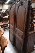 Pair of antique 19th century French oak armoire doors, approx 190cm H x 60cm W (2)
