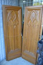 Pair of French carved Gothic doors, each approx 205cm H x 74cm W (2)