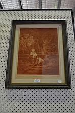 Antique mezzotint, Gathering wood, after Morland,
