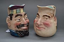 Two Antique French majolica character jugs. 14 cm
