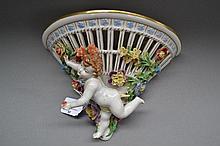 Dresden porcelain figural wall bracket, approx