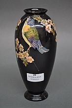 Bretby vase decorated with birds & flowers. 21cm