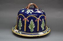 Antique English Majolica cheese bell & plate in
