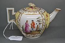 Antique German Dresden teapot decorated with