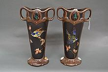 Pair of Exhibition quality Bretby twin handle