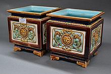 Pair of antique Sarreguemines Majolica square form