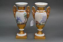 Pair of antique decorative Spanish urns mark on