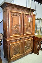 French Louis XV style carved walnut two height
