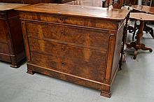 Antique French Louis Philippe figured walnut four