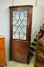 Georgian style Mahogany two piece corner cabinet
