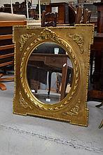 Modern French gilt framed oval mirror, 85 cm x 75