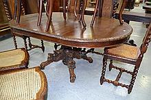 Antique French D end carved oak pedestal dining