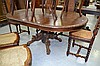 Antique French D end carved oak pedestal dining
