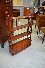 Mahogany shelves with drawers below