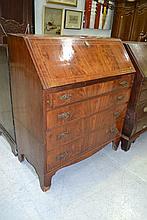 Antique George III inlaid mahogany bureau chest,