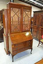 Vintage English mahogany bureau bookcase