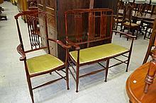 Early 20th century Sheridan style settee & single