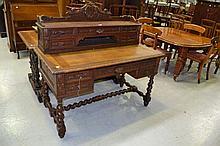 Antique French Henri II carved oak desk, approx