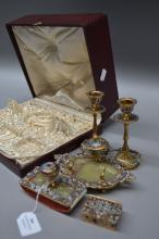 Fine antique cased French champleve enamel & onyx desk set, please note on small box is missing (5)