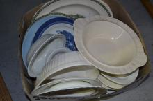 Box lot of plates, etc to include Wedgwood