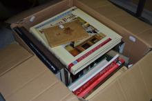 Box of vintage books etc