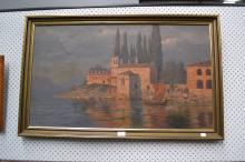 Georg Backhaus, oil on canvas 'Punta San Viglio, Italy', signed lower right 'G Backhaus 1903' approx 150cm x 99cm