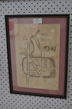 Etching map of Ischalis (Roman Province) C.1723 mounted and framed, approx 30cm x 20cm