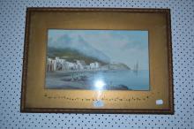 Salvatore Montullo, Italy, circa 1870, watercolour of Fisherfold Bay of Naples in background Mt Vesuvius, approx 42cm x 24cm