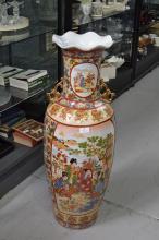 Large Japanese floor vase, approx 91cm H