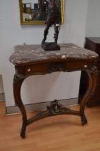 Antique French walnut Louis XV style console table, approx 100cm H x 92cm W x 53cm D
