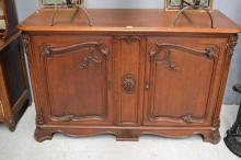 Antique French oak two door enfilade, approx 101cm H x 163cm W x 63cm D