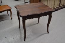 Vintage French oak single drawer shaped edge table, approx 69cm W x 85cm D x 76cm H