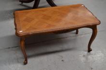 Vintage French parquetry top coffee table, approx 47cm H x 89cm W x 49cm D