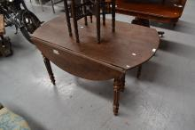 Antique French walnut dropside extension dining table, fitted with six legs, mid 19th century, approx 71cm H x 129cm L x 77cm W (closed)
