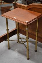 Antique brass and cedar lamp table, approx 70cm H x 52cm W x 41cm D