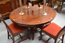 Antique French circular table, approx 70cm H x 124cm W x 110cm D