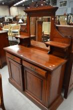 Sideboard mahogany Edwardian, approx 188cm H x 137cm W x 53cm D