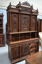 Antique French Brittany hunting buffet, approx 273cm H x 160cm W x 60cm D