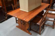 French pine trestle dining table, fitted with central iron stretcher, approx 90cm x 198cm L x 75cm H