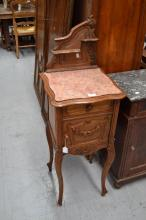 Antique French Louis XV style walnut marble top night stand, fitted with a shaped back board, approx 114cm H x 40cm square