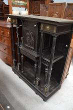 Antique 19th century ebonized hall cabinet, with inset green marble panels, central cupboard with single drawer, approx 147cm H x 129cm W x 51cm D