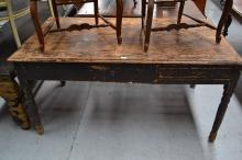 Antique rustic pine kitchen table, approx 80cm H x 158cm W x 86cm D