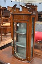 Antique Edwardian bow front inlaid display cabinet, approx 104cm H x 51cm W x 26cm D