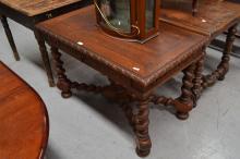 Antique French oak Renaissance style table/ desk, X frame stretchers below, approx 75cm H x 116cm W x 68cm D