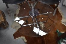 Modern glass top coffee table, approx 40cm H x 87cm dia