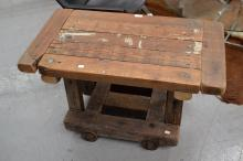 Rustic work table, converted from an old Piano dolly, approx 51c, x 85cmW x 48cm D